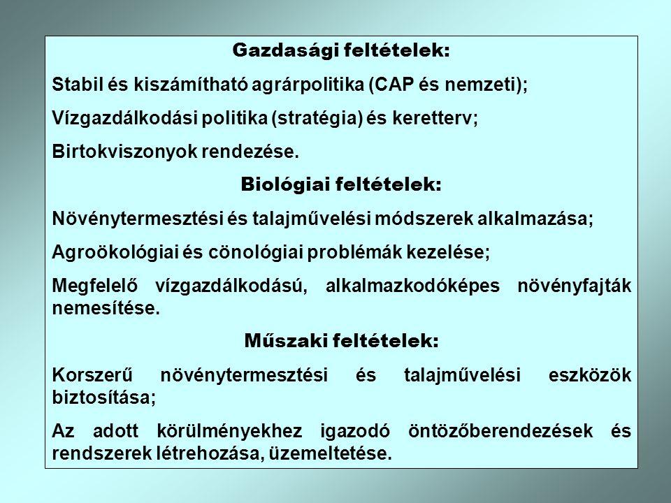 Gazdasági feltételek: Biológiai feltételek: