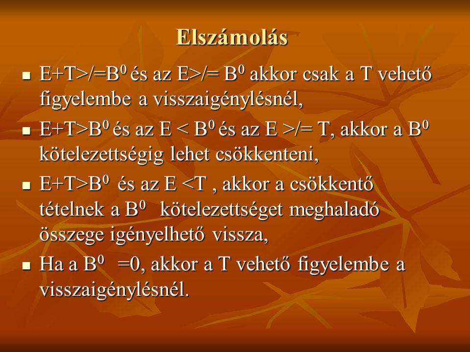Elszámolás E+T>/=B0 és az E>/= B0 akkor csak a T vehető figyelembe a visszaigénylésnél,
