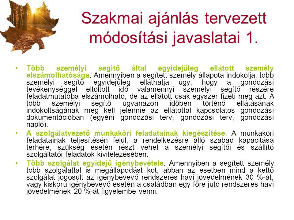 Szakmai ajánlás tervezett módosítási javaslatai 1.