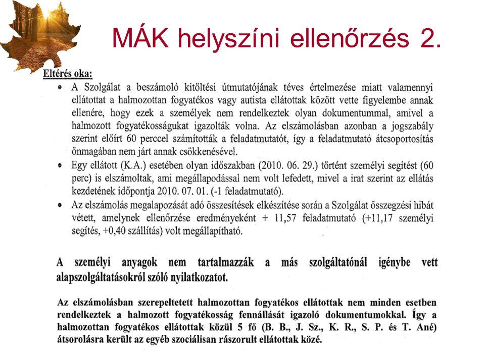 MÁK helyszíni ellenőrzés 2.