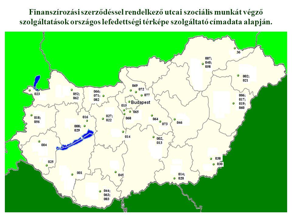 Finanszírozási szerződéssel rendelkező utcai szociális munkát végző szolgáltatások országos lefedettségi térképe szolgáltató címadata alapján.