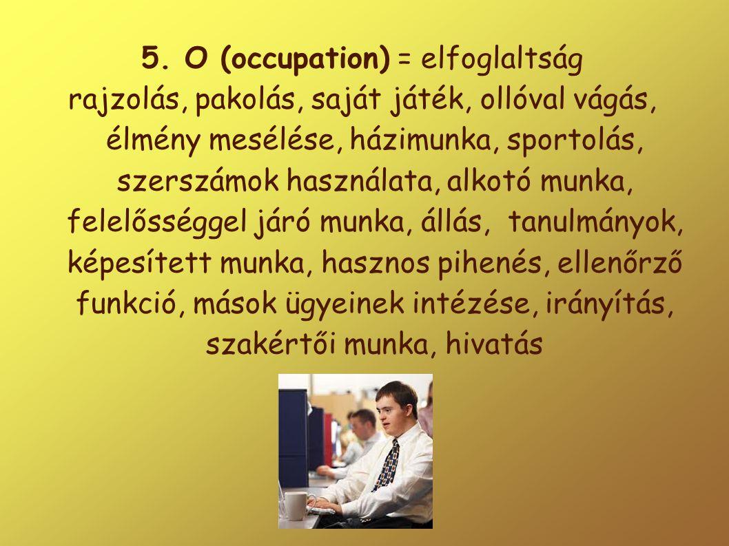 5. O (occupation) = elfoglaltság