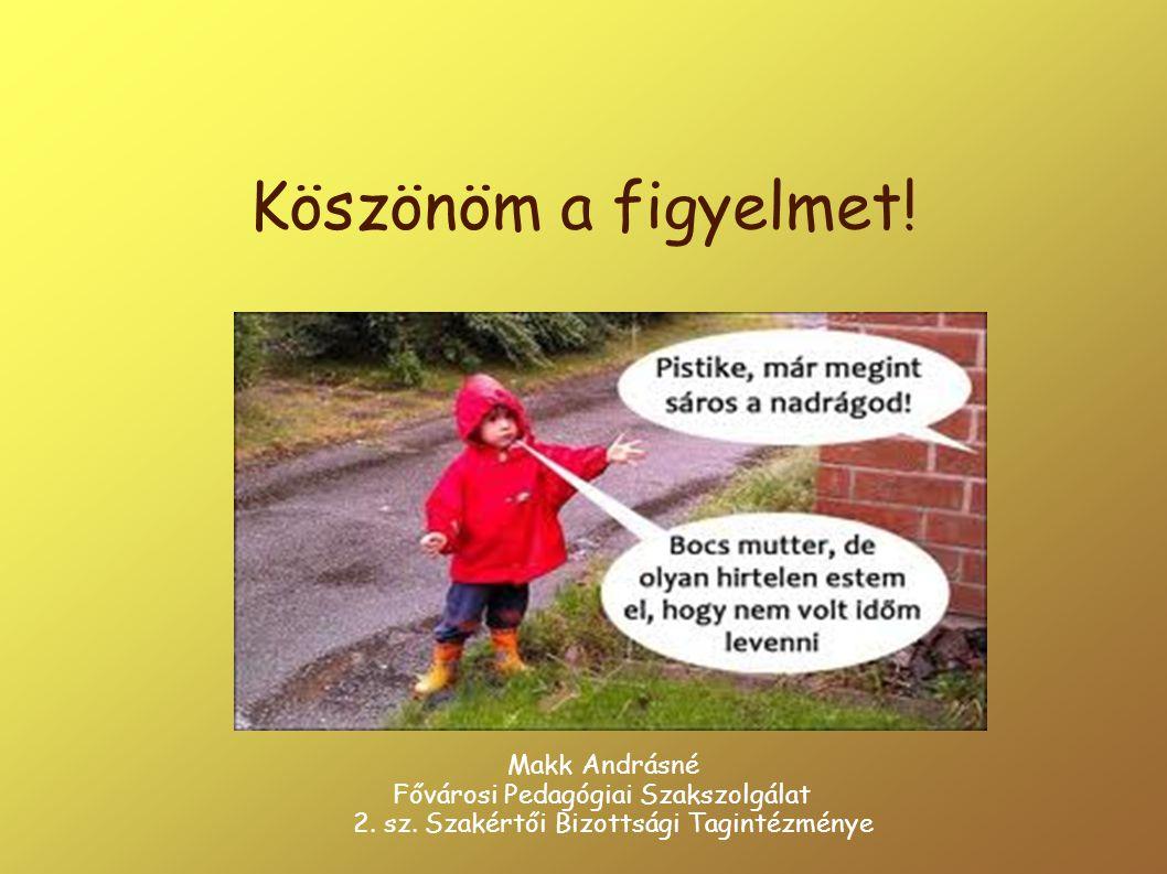 Köszönöm a figyelmet! Makk Andrásné Fővárosi Pedagógiai Szakszolgálat