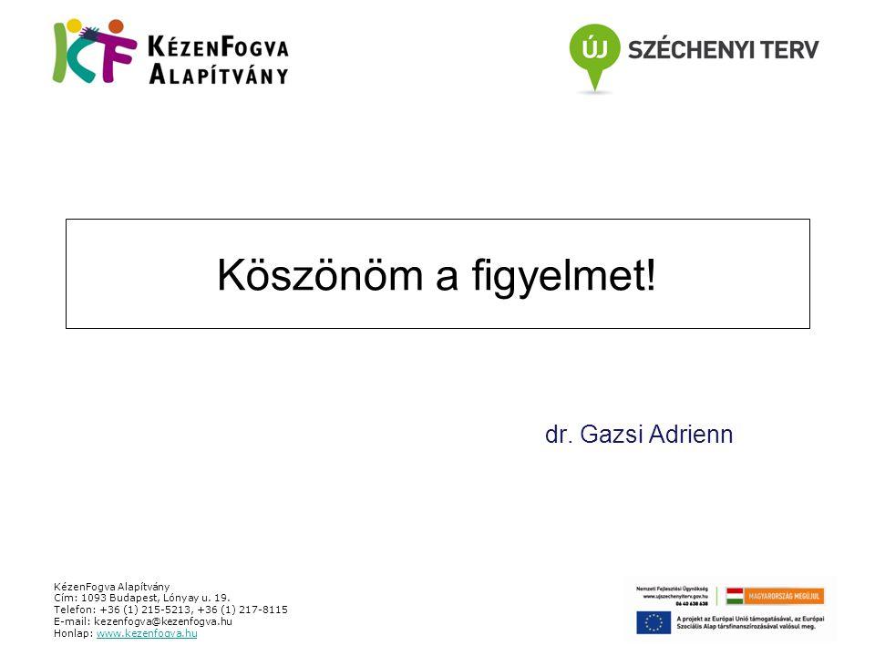 Köszönöm a figyelmet! dr. Gazsi Adrienn KézenFogva Alapítvány