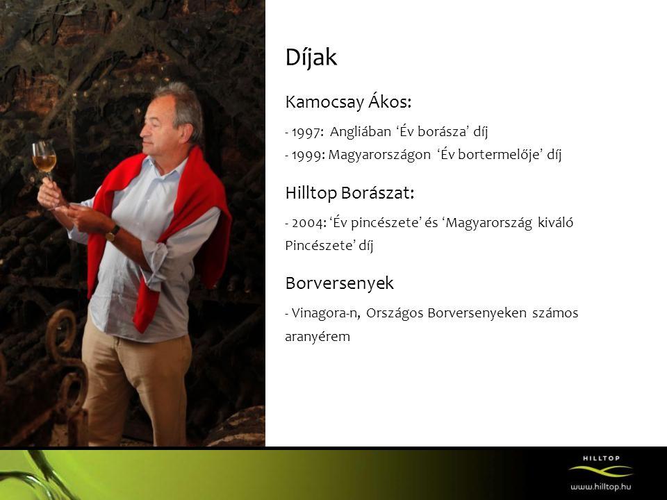 Díjak Kamocsay Ákos: Hilltop Borászat: Borversenyek