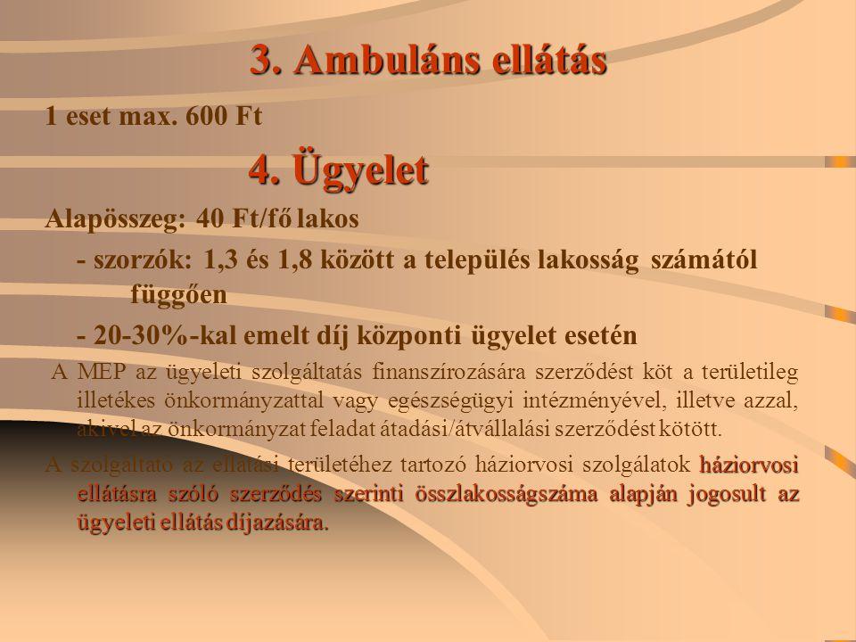3. Ambuláns ellátás 1 eset max. 600 Ft Alapösszeg: 40 Ft/fő lakos
