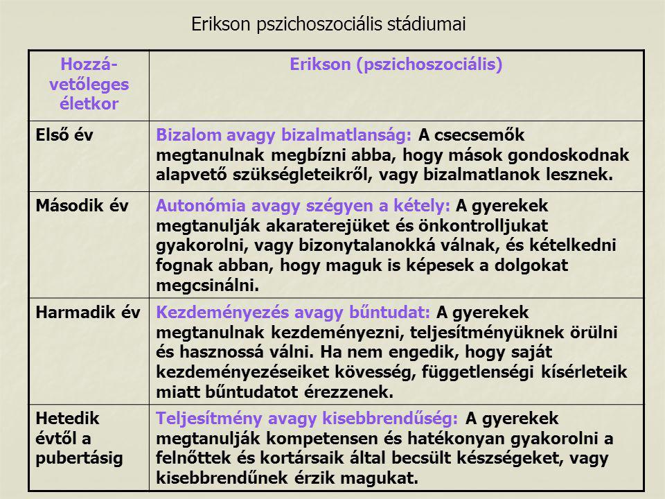 Hozzá-vetőleges életkor Erikson (pszichoszociális)