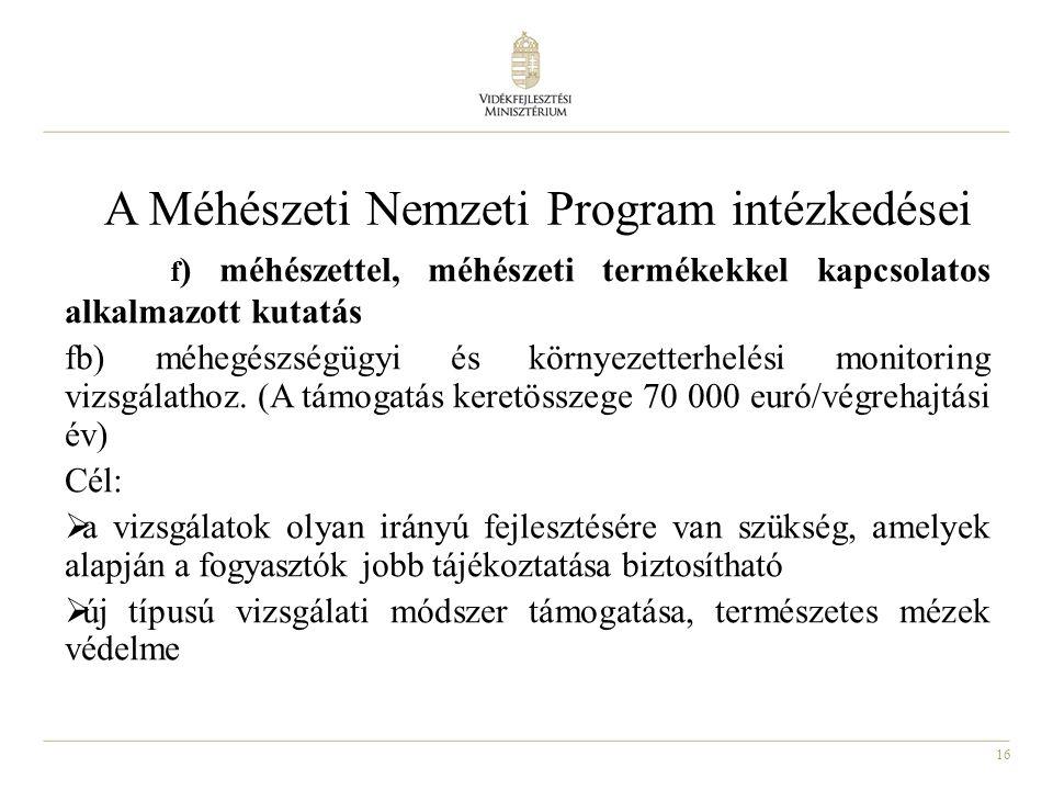 A Méhészeti Nemzeti Program intézkedései