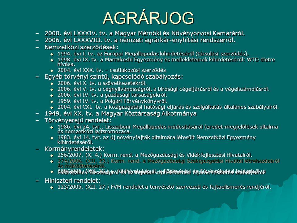 AGRÁRJOG 2000. évi LXXXIV. tv. a Magyar Mérnöki és Növényorvosi Kamaráról. 2006. évi LXXXVIII. tv. a nemzeti agrárkár-enyhítési rendszerről.