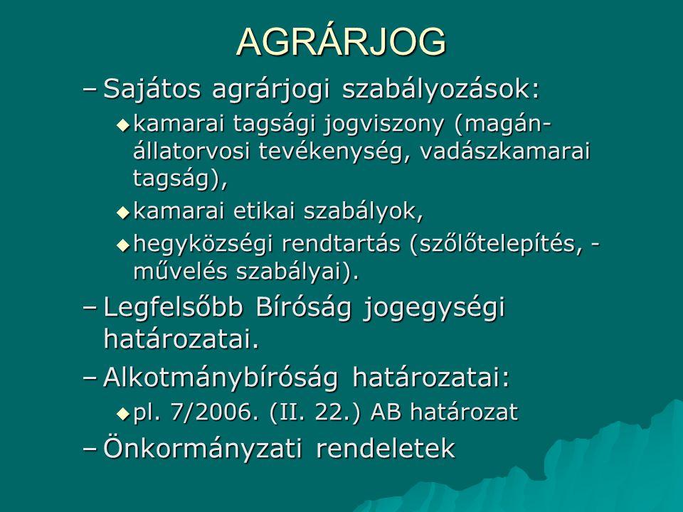 AGRÁRJOG Sajátos agrárjogi szabályozások: