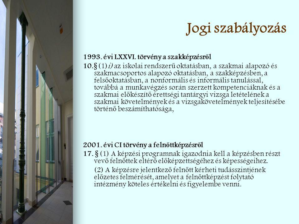 Jogi szabályozás 1993. évi LXXVI. törvény a szakképzésről