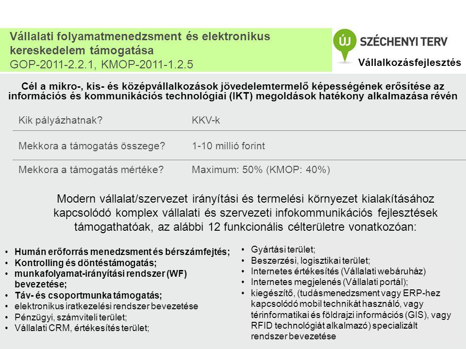 Vállalati folyamatmenedzsment és elektronikus kereskedelem támogatása GOP-2011-2.2.1, KMOP-2011-1.2.5