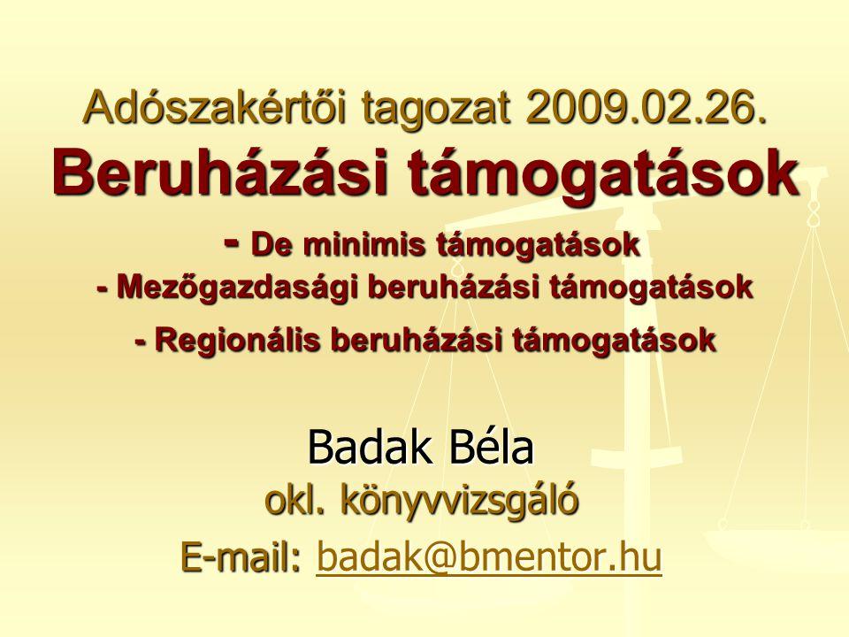 Badak Béla okl. könyvvizsgáló E-mail: badak@bmentor.hu