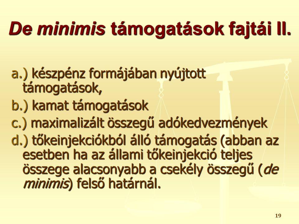 De minimis támogatások fajtái II.