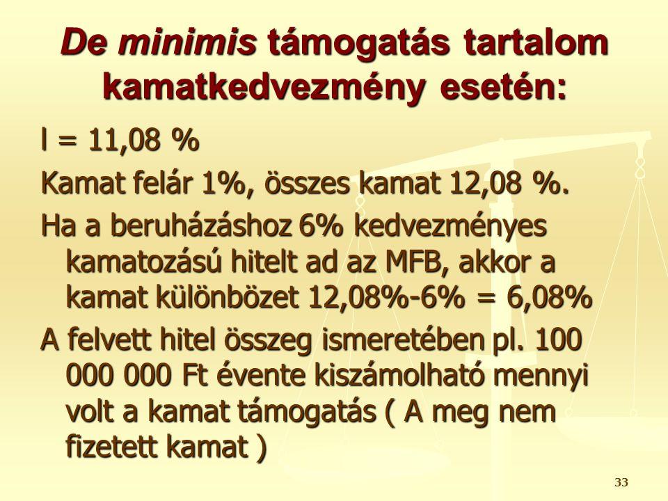 De minimis támogatás tartalom kamatkedvezmény esetén: