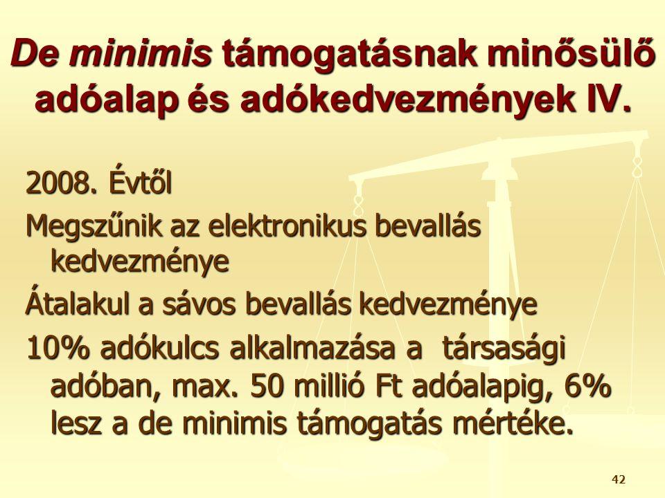 De minimis támogatásnak minősülő adóalap és adókedvezmények IV.