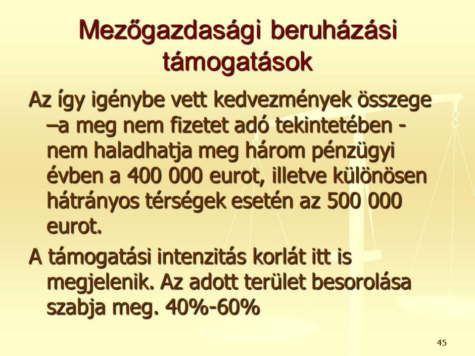Mezőgazdasági beruházási támogatások