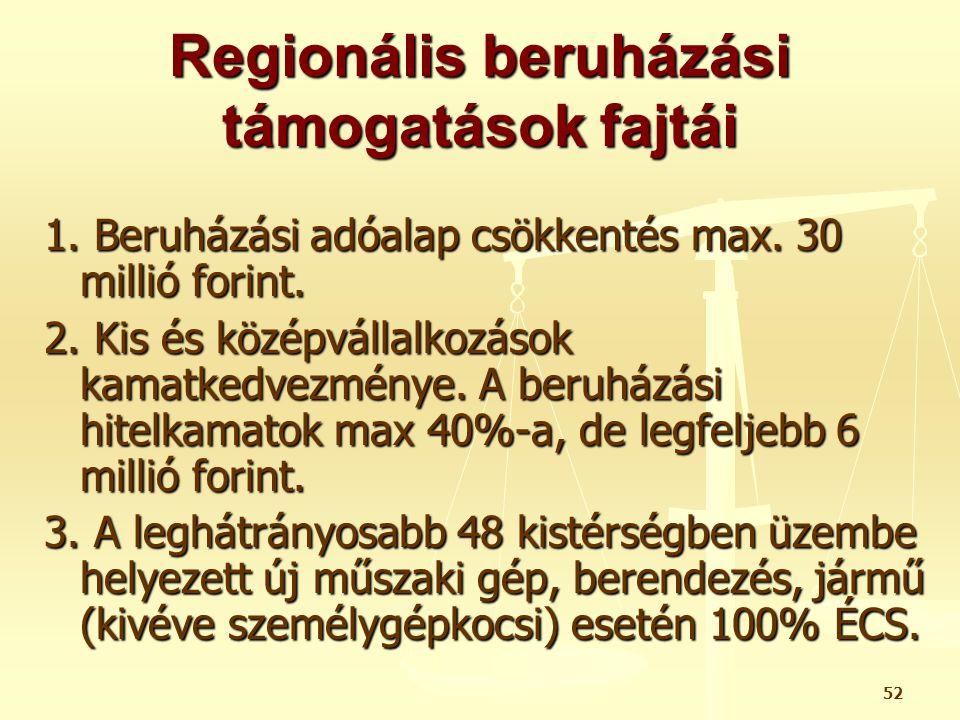 Regionális beruházási támogatások fajtái