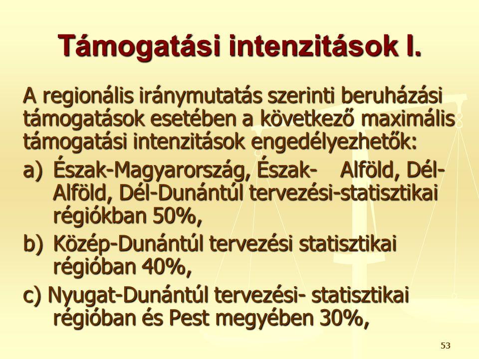 Támogatási intenzitások I.