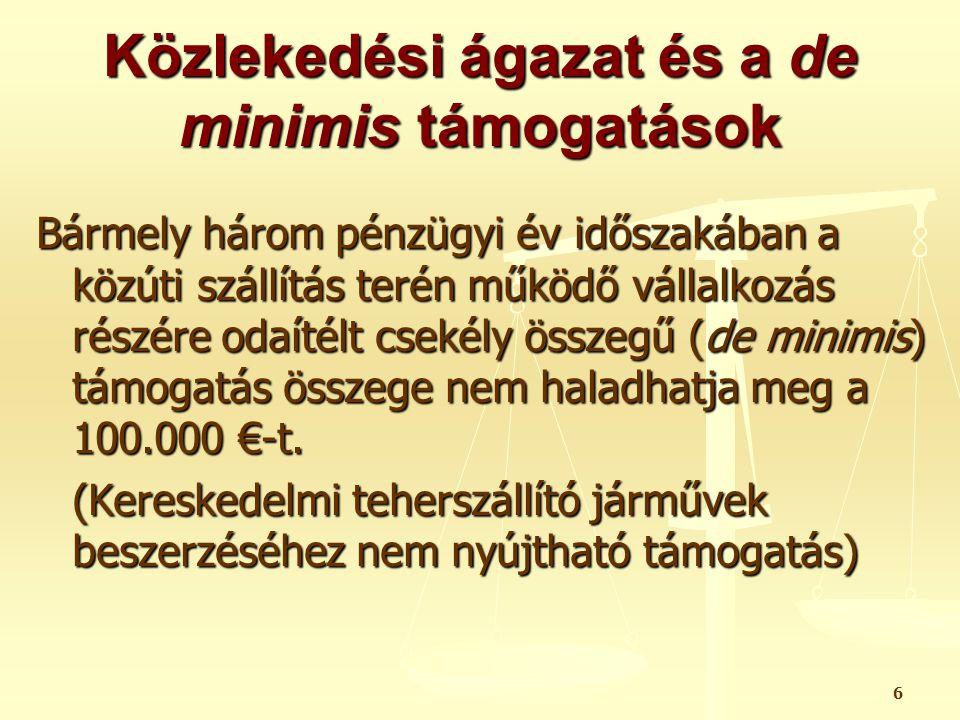 Közlekedési ágazat és a de minimis támogatások