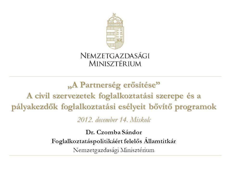 """""""A Partnerség erősítése Foglalkoztatáspolitikáért felelős Államtitkár"""