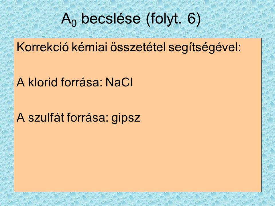 A0 becslése (folyt. 6) Korrekció kémiai összetétel segítségével: