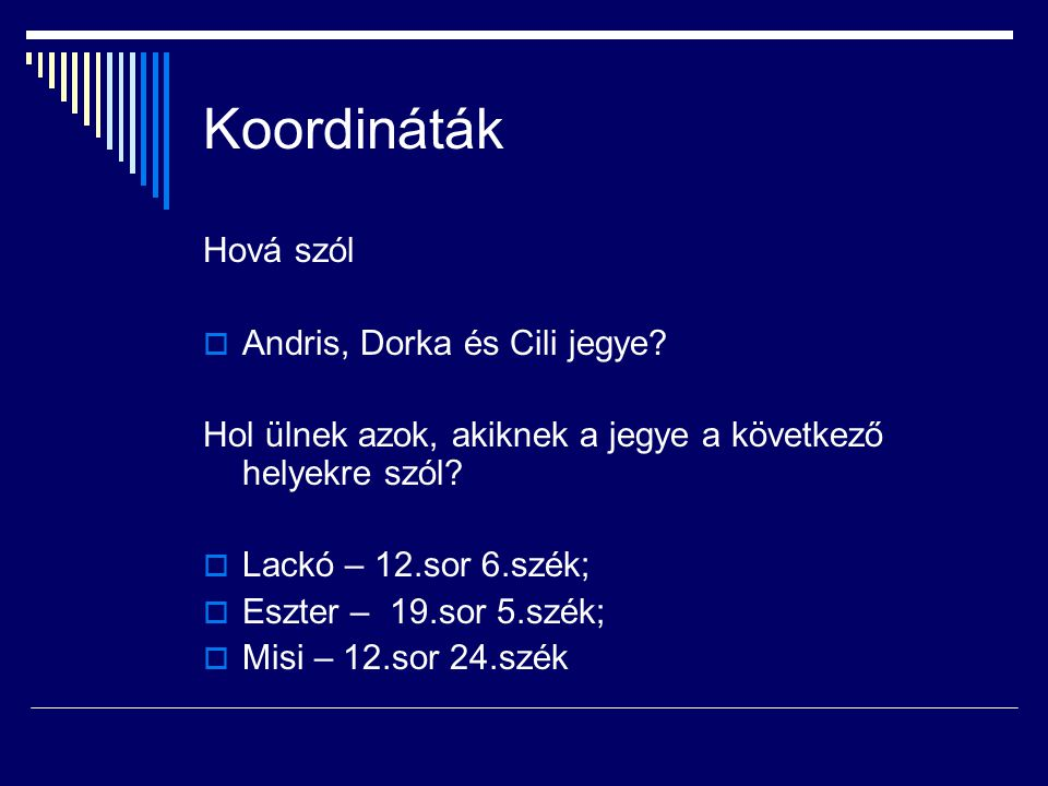 Koordináták Hová szól Andris, Dorka és Cili jegye