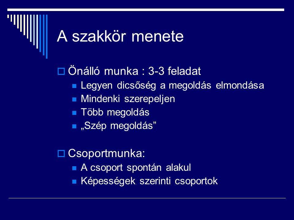 A szakkör menete Önálló munka : 3-3 feladat Csoportmunka: