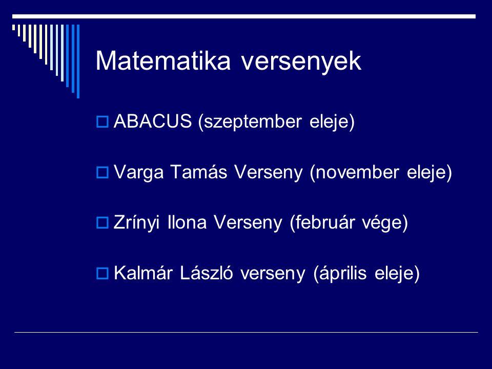 Matematika versenyek ABACUS (szeptember eleje)