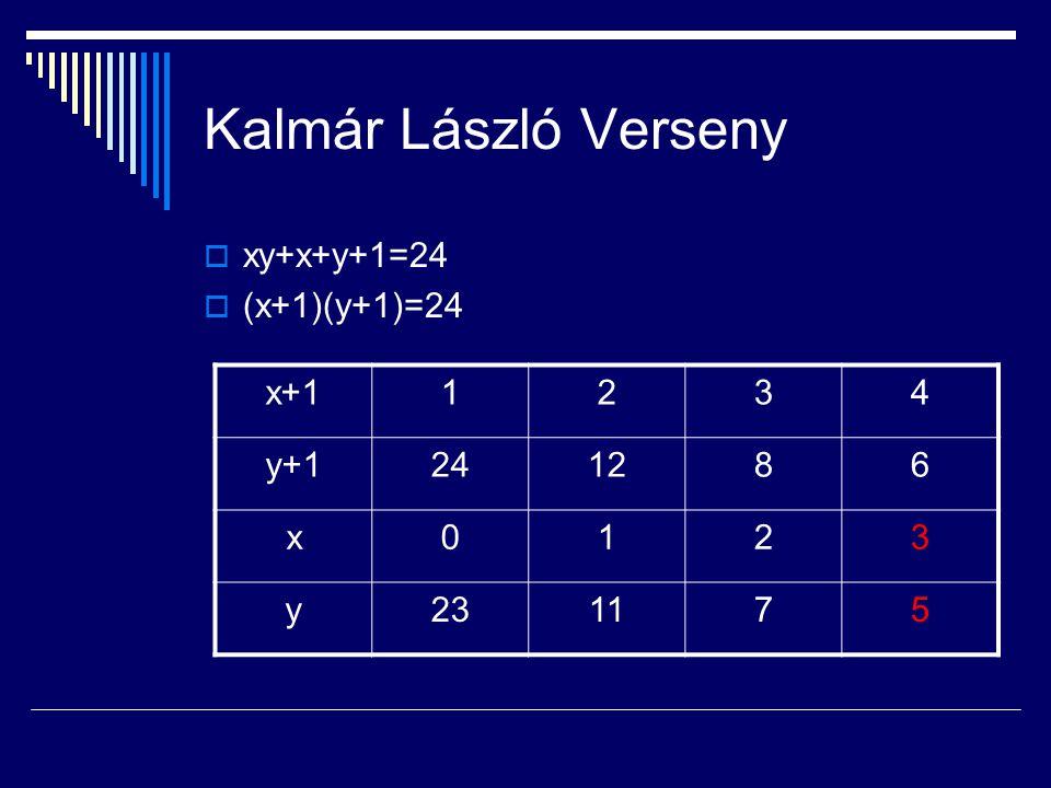 Kalmár László Verseny xy+x+y+1=24 (x+1)(y+1)=24 x+1 1 2 3 4 y+1 24 12
