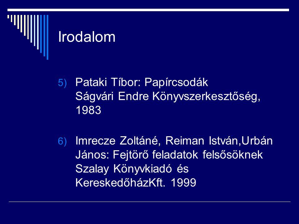 Irodalom Pataki Tíbor: Papírcsodák Ságvári Endre Könyvszerkesztőség, 1983.