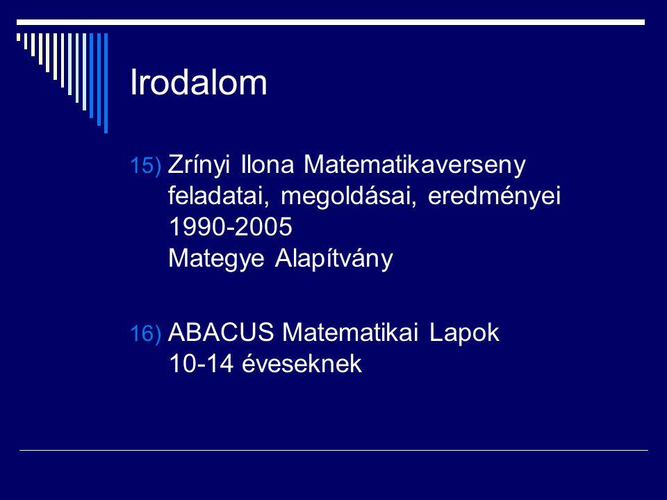 Irodalom Zrínyi Ilona Matematikaverseny feladatai, megoldásai, eredményei 1990-2005 Mategye Alapítvány.