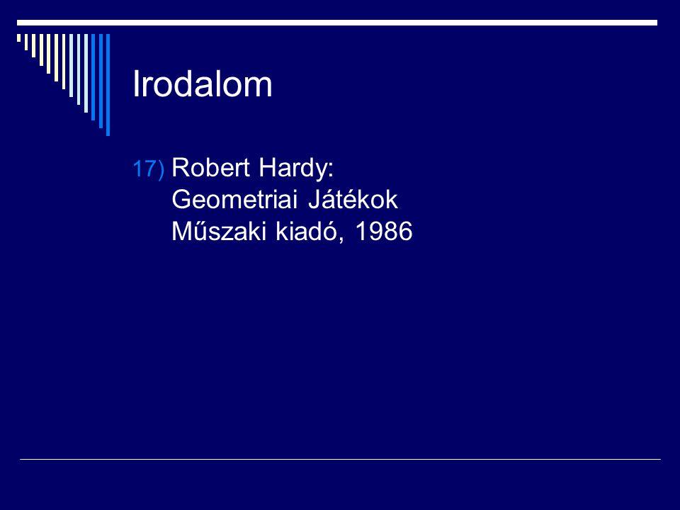 Irodalom Robert Hardy: Geometriai Játékok Műszaki kiadó, 1986