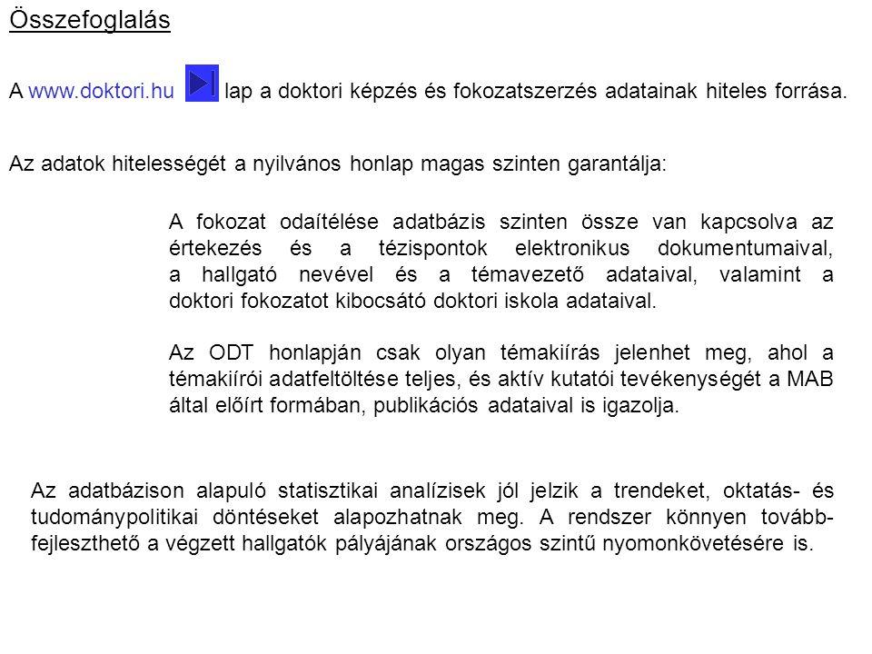 Összefoglalás A www.doktori.hu lap a doktori képzés és fokozatszerzés adatainak hiteles forrása.