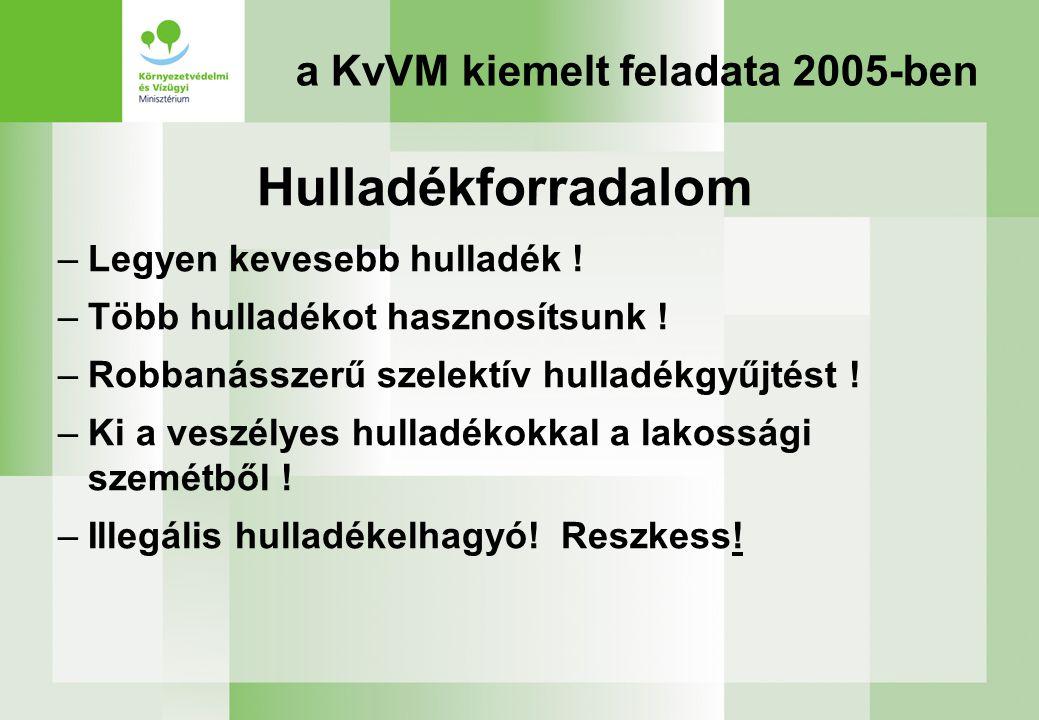 a KvVM kiemelt feladata 2005-ben