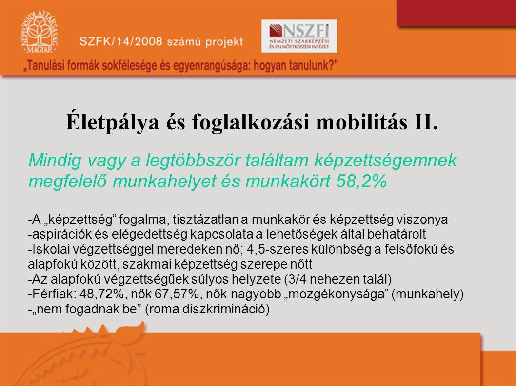 Életpálya és foglalkozási mobilitás II.