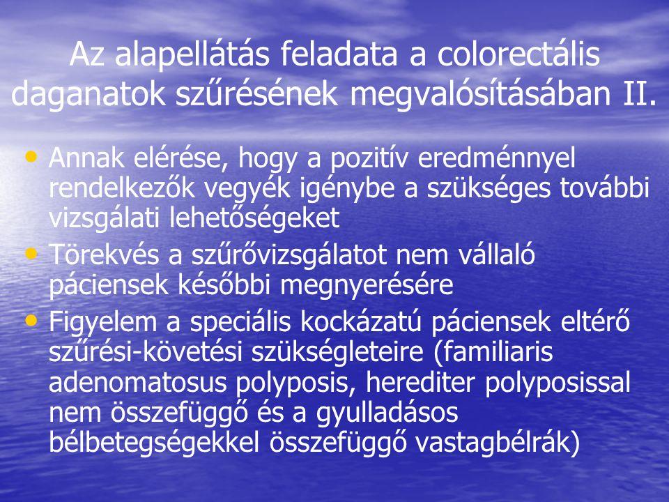 Az alapellátás feladata a colorectális daganatok szűrésének megvalósításában II.