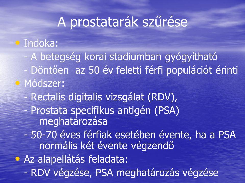 A prostatarák szűrése Indoka:
