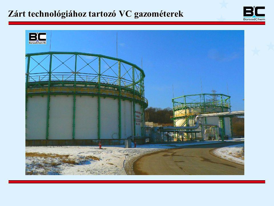 Zárt technológiához tartozó VC gazométerek