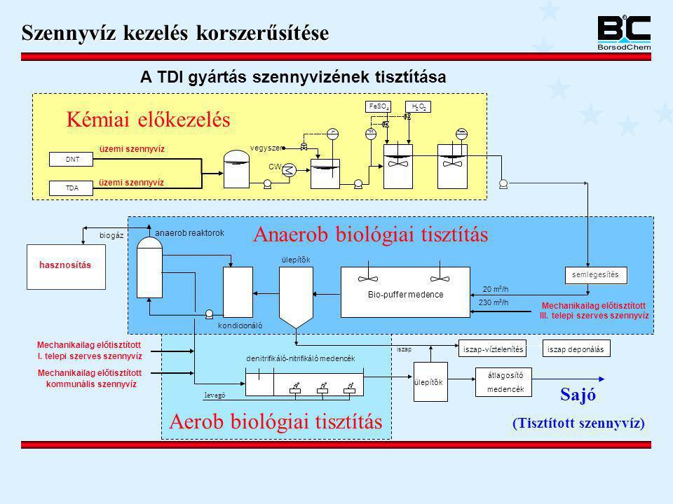 Mechanikailag előtisztított III. telepi szerves szennyvíz