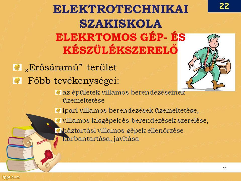 ELEKTROTECHNIKAI SZAKISKOLA ELEKRTOMOS GÉP- ÉS KÉSZÜLÉKSZERELŐ