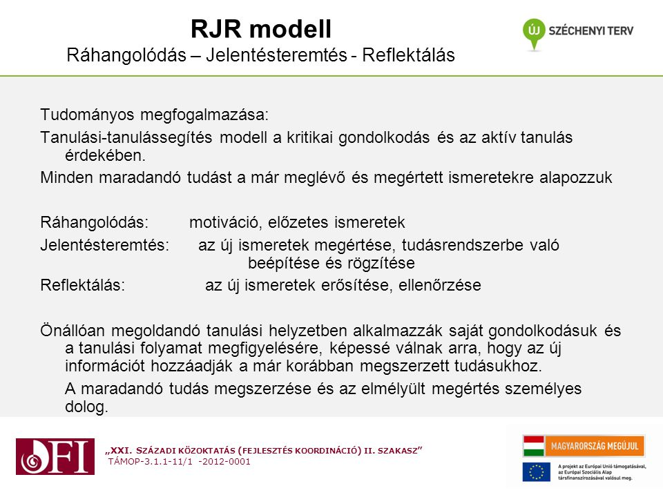 RJR modell Ráhangolódás – Jelentésteremtés - Reflektálás