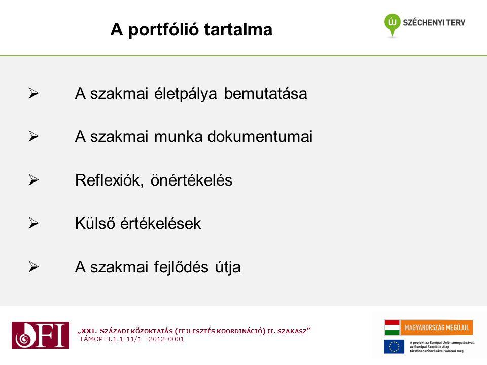A portfólió tartalma A szakmai életpálya bemutatása