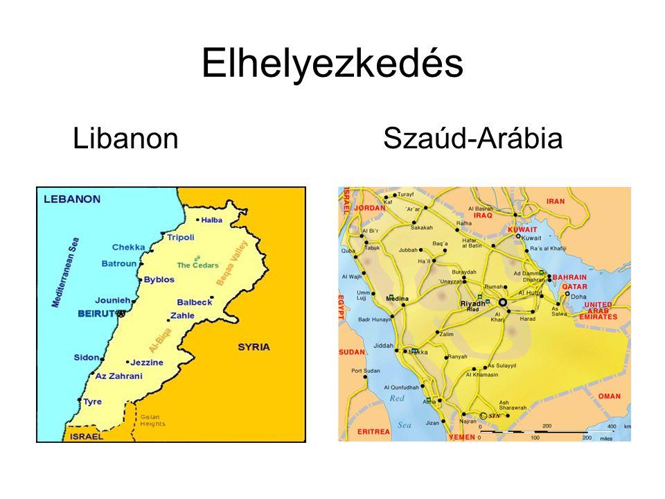 Elhelyezkedés Libanon Szaúd-Arábia