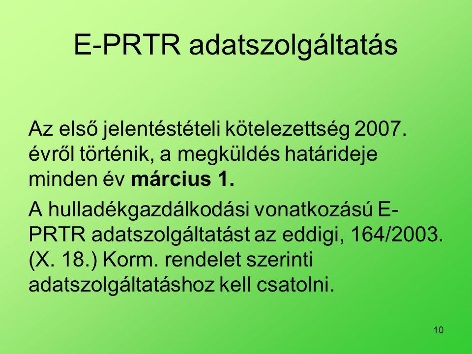 E-PRTR adatszolgáltatás