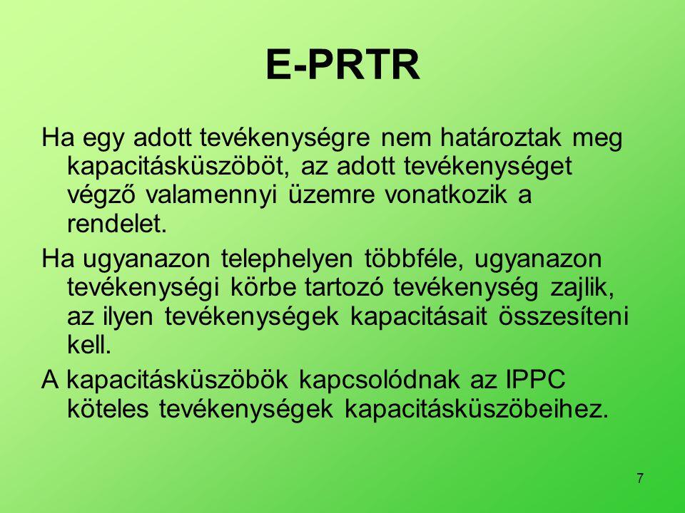 E-PRTR Ha egy adott tevékenységre nem határoztak meg kapacitásküszöböt, az adott tevékenységet végző valamennyi üzemre vonatkozik a rendelet.