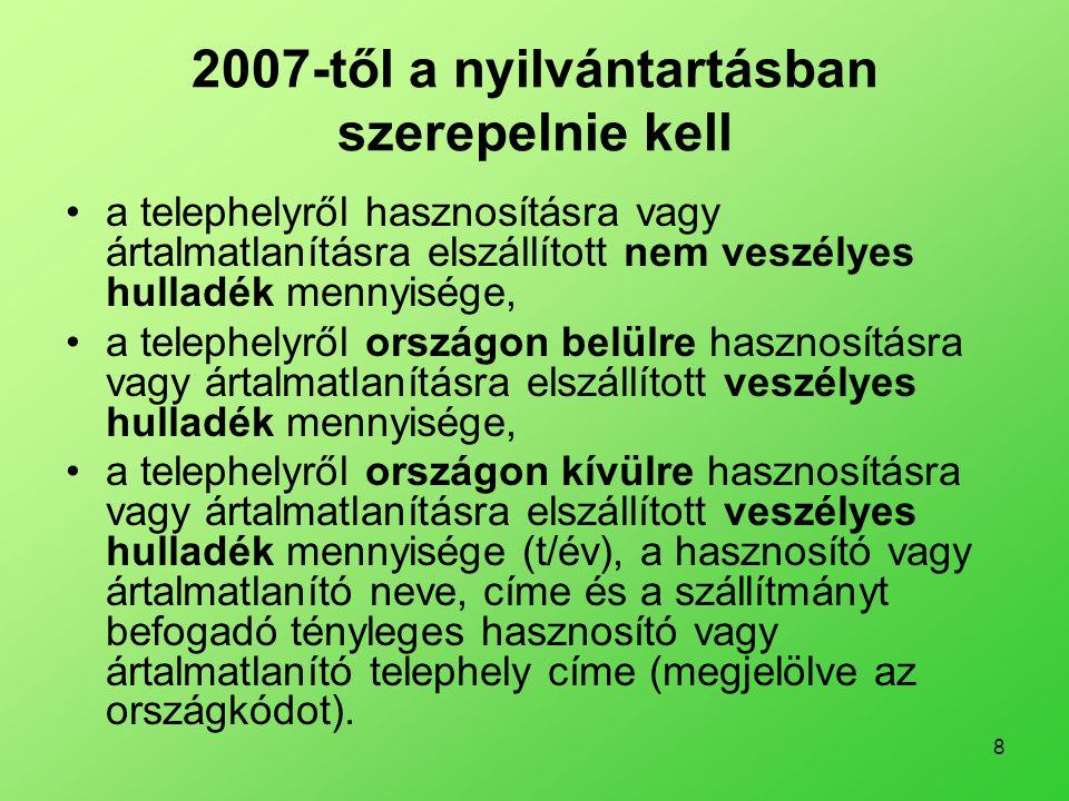 2007-től a nyilvántartásban szerepelnie kell