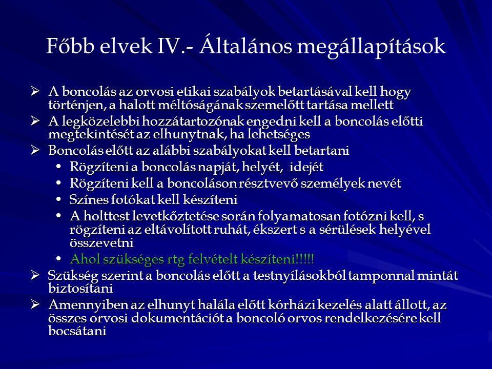 Főbb elvek IV.- Általános megállapítások