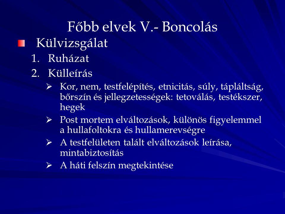 Főbb elvek V.- Boncolás Külvizsgálat Ruházat Külleírás