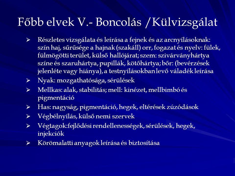 Főbb elvek V.- Boncolás /Külvizsgálat